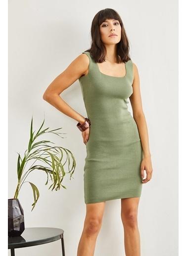 Sortee Kadın Kare Yaka Elbise Yeşil